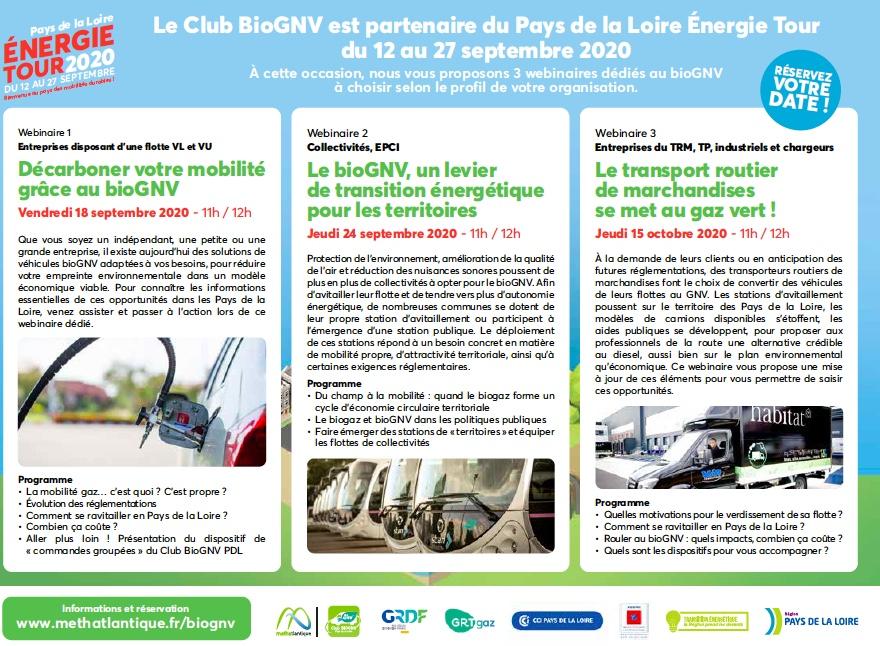 Découvrir pourquoi le  BIOGNV peut décarboner votre mobilité ? en 3 WEBINAIRES lors du Energies Tour Pays de la Loire